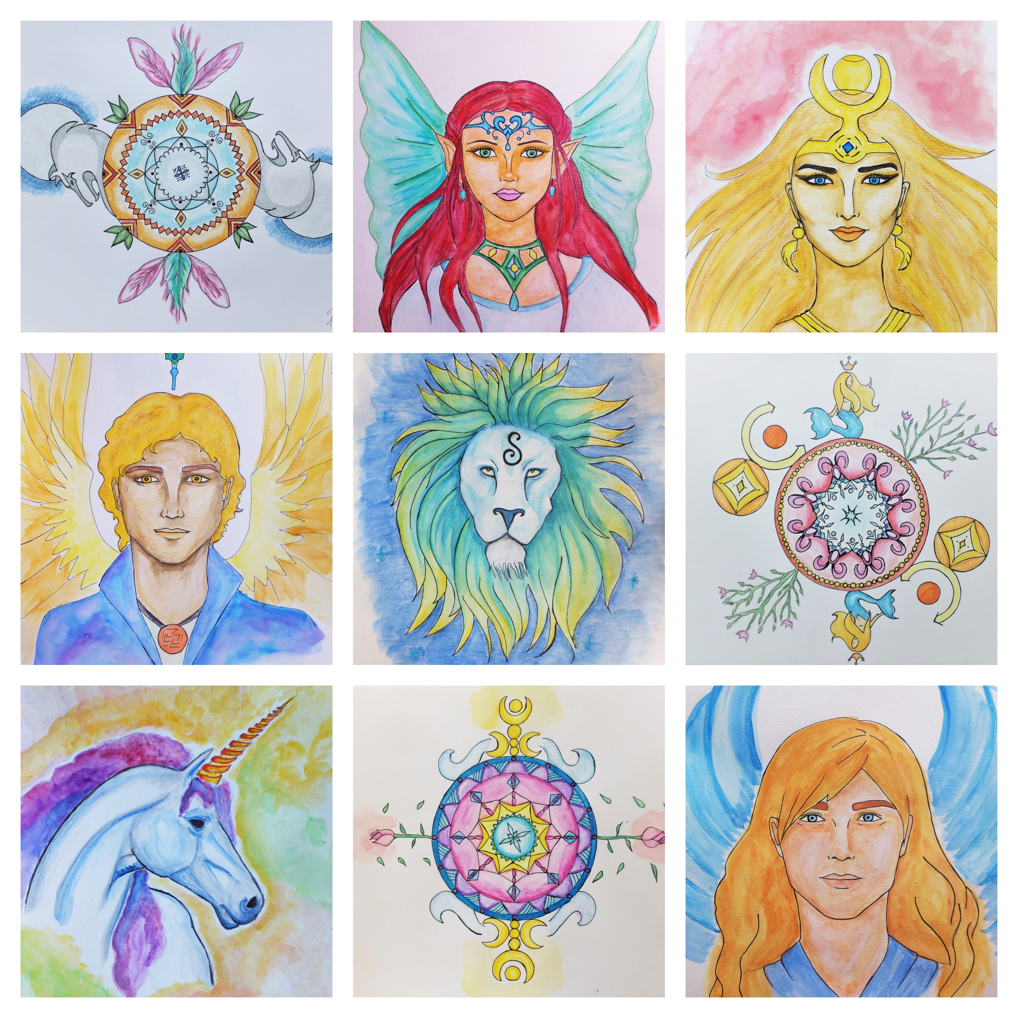 spiritguide drawings collage
